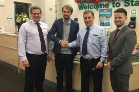 Pictured left to right: Simon Wright (Stax Purchasing Director), Gary Fisher (Husqvarna Key Account Manager),David Hibbert (Stax Joint Managing Director) and Aaron Sanders (Stax Range Negotiator)