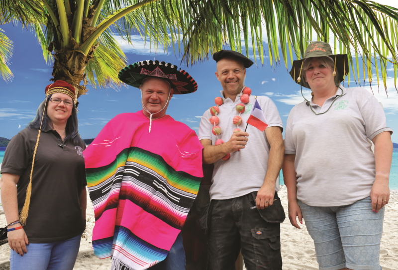The retailer will post fun updates on social media throughout the campaign with staff pictured in different foreign destinations (L-R:Lisa Childs, Andy Smith, Gary Tedstone, and Sam Harris)