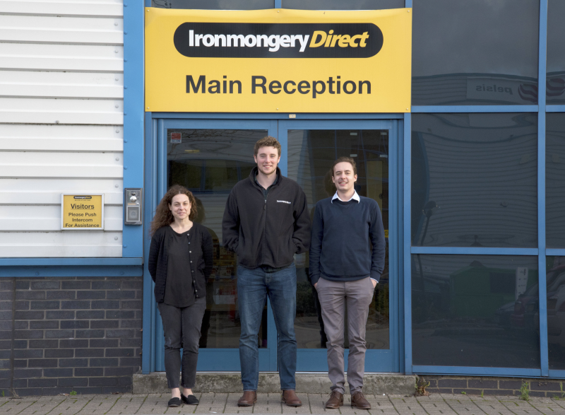 Ironmongery Direct has had great success with its graduate trainee programme. Pictured (L-R) Dimitra Koutsochera, Oliver Bull and Luke Scott