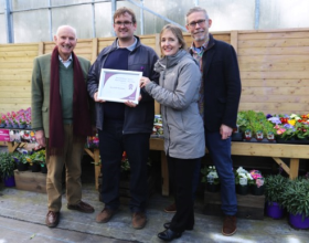 "Squire's awarded Barnsfold Nurseries ""Best Bedding Plant Supplier""L-R: Colin Squire, Jonny Brown (Barnsfold Nurseries), Sarah Squire & Jeremy Hall"