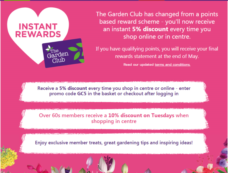 The garden retailer has updated its loyalty scheme, so that customers receive discounts instead of collecting points