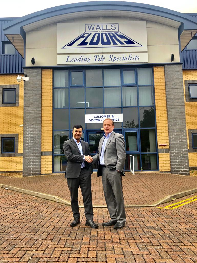 L-R: Mo Iqbal and Jeremy Harris have completed the acquisition of Walls & Floors, making their Tile Mountain venture the largest privately-owned tile retailer in the UK