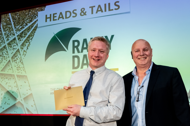 Phil Ayre from Kings DIY won the game of heads & tails in aid of the Rainy Day Trust to take home two Club Wembley tickets