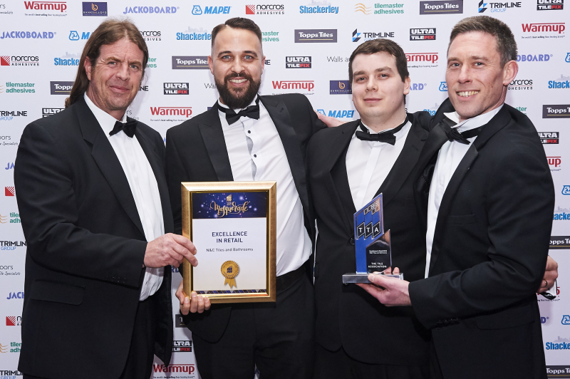 N&C Tiles & Bathrooms pick up the TTA Excellence in Retail Award. L-R: Bob Sewell, Patrick Jenner, Gavin Johnson, Gregori Banos