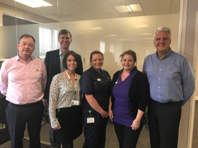 Alan Murray from Shurtape, Andrew House and Emma Carr of Frimley Health NHS Foundation Trust, Matron Siobhan Whittaker, Michele Martin and Colin Gadd.