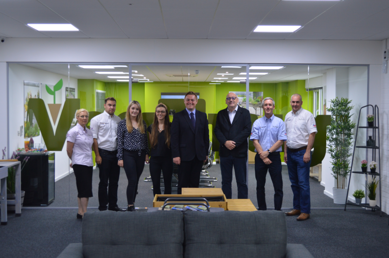 MP Will Quince (centre) meets the Vegtrug team at its new purpose-built premises in Essex