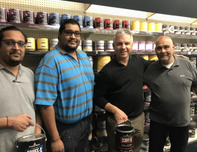 From left, Shaun Shah, Craig Shaw, Managing Director of Benjamin Moore UK, Kush Shah and Vihar Shah