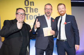 Actor/comedian Justin Moorhouse with Martin Brown of Axminster Tools and Tony Munro of awards sponsor Jewson