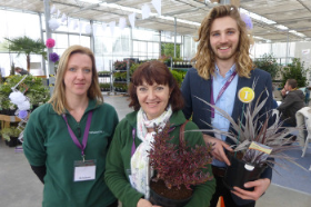 Rachel Wallace, goods in supervisor and horticulturalist from Nicholsons, Lorraine Spooner, who deals with plant centre sales at Nicholsons with Ben Gregory, product development co-ordinator at Wyevale Nurseries, at the Introducing Stage at the event.