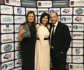 Emma Leeke, Joanna Littlejohn and Chris Leeke received the Retailer of the Year Award at the recent Cardiff Life Awards