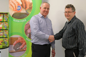 Wilsons director Ivan Hopkins with Glue Dots European key account manager Dave Angus