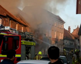 More than 50 firefighters tackled the blaze at DG Homecare, Watlington. Image by Tom Dixon.