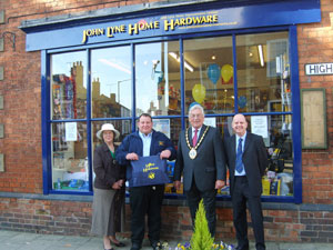 The official opening with L-R mayoress, Andrew Lyne, the mayor and financial director Sean Davey