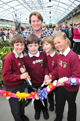 David Domoney with year four pupils from Park Wood Primary School, Gillingham