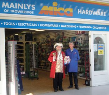 Trowbridge's town crier Trevor Heeks helped announce the grand opening of the latest Mainlys Mica