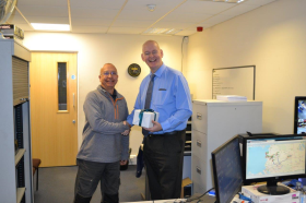 Toolbank driver Mike Peace was presented with gifts on his retirement day after 39 years