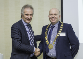 Richard Pyrah receives the GIMA presidency from Chris Ramsden