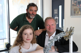 L to R, T to B Phil Bayliss sculptor, Florence Thompson, winning design student, Guy Perry MD of A Perry