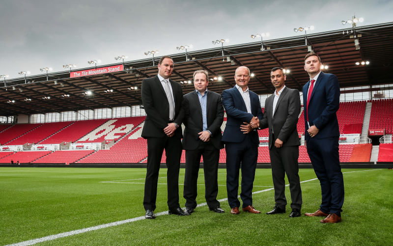 L-R: Tile Mountain brand manager Dean Quinn, Tile Mountain director Colin Hampson, Stoke City FC chief commercial officer Paul Lakin, Tile Mountain director Ansar Aziz, and Tile Mountain customer relations manager James Bacon