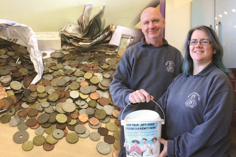 Broad Street DIY directors Brian Warren & Lisa Childs with some of the currency donated