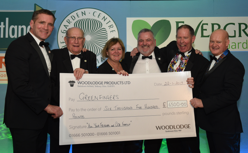 The competition raised £6,500 for Greenfingers. L-R: GCA Awards host Phil Vickery, Greenfingers chairman John Ashley, and director of fundraising Linda Petrons, Woodlodge xx, Barton Grange MD Guy Topping and GCA chairman Mike Lind