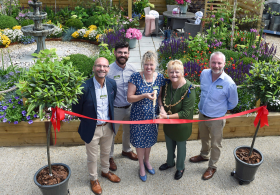 (L-R) Nick Burrows, Chief Executive, Notcutts; Marco de Jongh, Head of Visual Merchandising, Notcutts; Caroline Notcutt, Vice Chairman, Notcutts; Cllr Marion Ring, Mayor of Maidstone and Jonathan Kemp, General Manager at Notcutts Maidstone (Credit: Vervate, Copyright: Notcutts Garden Centres Ltd)