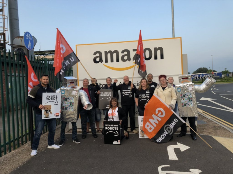 "UK workers have been staging protests outside fulfilment centres over ""appalling working conditions"""
