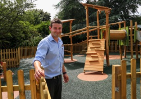 Ricky Bowness (Centre Manager) in the new play area at Squire's in Milford