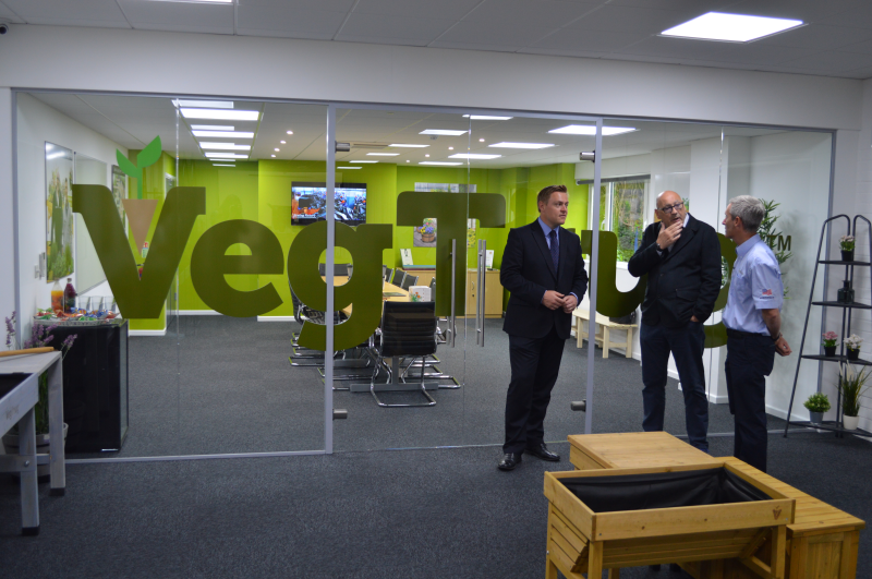 L-R: Will Quince chats with Vegtrug CEO Joe Denham and MD Paul Owen at the new headquarters