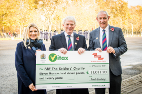 Pictured (left to right): Kate Billingham Wilson – head of partnerships at ABF The Soldiers' Charity; Paul Gooding – Vitax's chairman and Mark Butler, national sales manager at Vitax