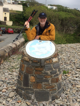Bryan Clover, ceo of the Rainy Day Trust, completed the 186 mile walk ahead of schedule, despite several setbacks